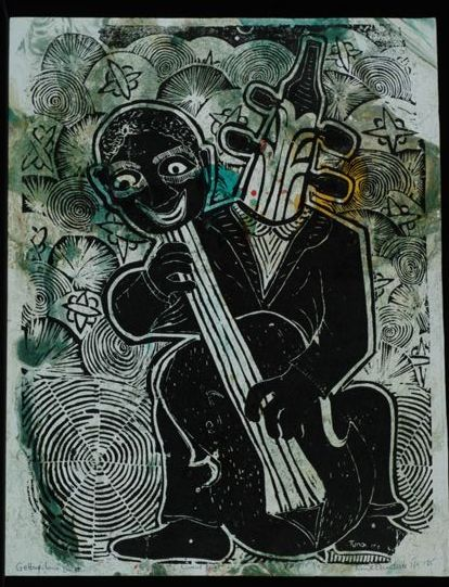 """Getting Down,"" 24"" x 18"", block print on paper"