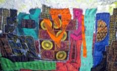 """""""Cityscape,"""" batik quilt tapestry"""