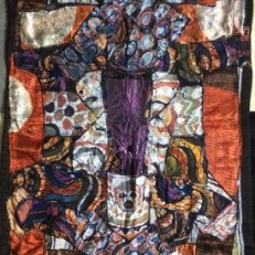 """Head of a Leader Carries a Heavy Load,"" 64"" x 32"", batik quilt"
