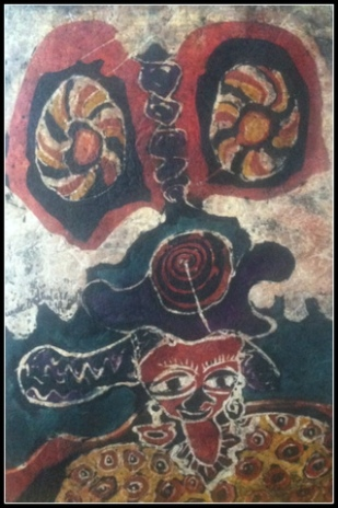 """Oya, Wife of Shango,"" 30"" x 20"", batik on handmade paper"
