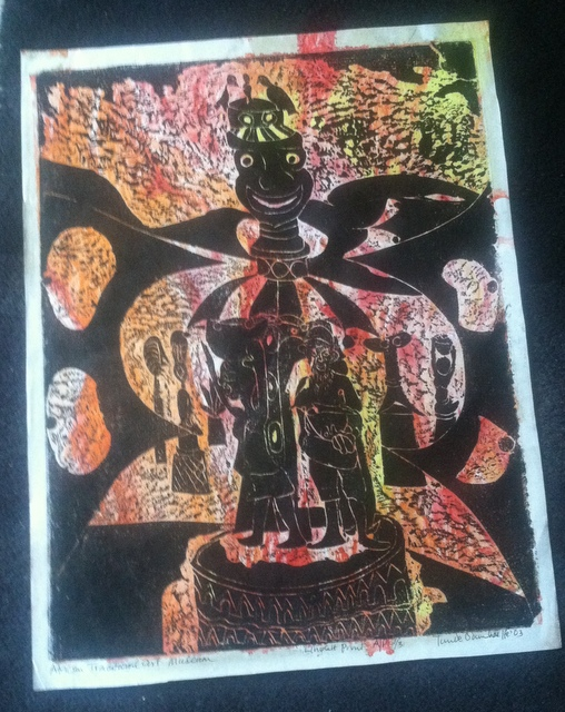 """Visit to an African Art Museum,"" 21.5"" x 17"", block print on paper"