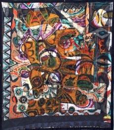 "SOLD: ""Superimposition,"" batik quilt tapestry (BQT)"