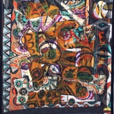 "SOLD: ""Superimposition,"" batik quilt tapestry (BQT)"