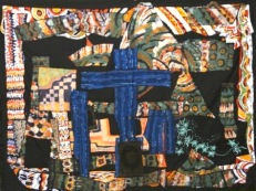 """""""The First Dark Night at the Calvary,"""" batik quilt tapestry (BQT)"""