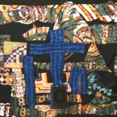 """The First Dark Night at the Calvary,"" batik quilt tapestry (BQT)"