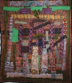 """SOLD: """"Eti Oba ka'le, Oju Oba to'ko,"""" batik quilt tapestry"""