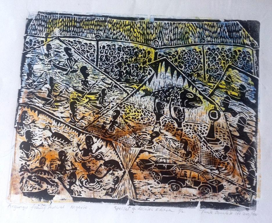"""Argungu Fishing Festival,"" 20"" x 26"", block print on paper"