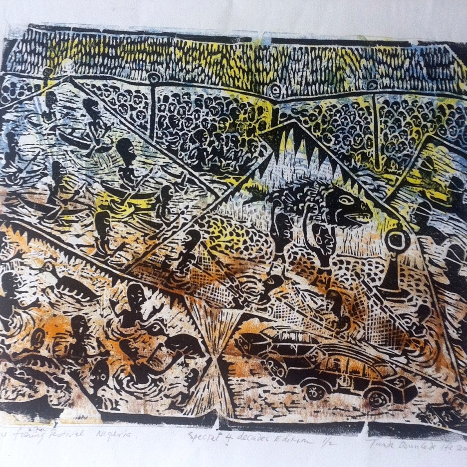 """Argungu Fishing Festival,"" 20"" x 26"", block print on paper"