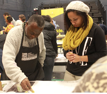Teaching batik at Bowie State University in Maryland, February 2014