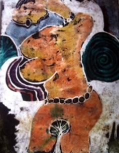 Oke'badan Atage Olomu oru, batik on handmade paper, 2014