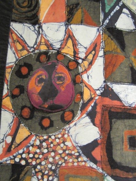 "Detail of ""Universal Peace Lies in Cultural Rearmament"" batik quilt"