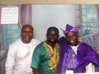 """Invasion 1987"" filmmaker Lancelot Imasuen Ooduwa sits between lead actor Mike Omoregbe (left) and visual artist Tunde Odunlade."