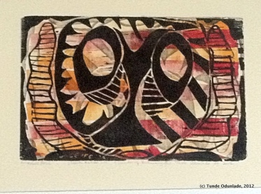 """Animalistic Mask,"" 18"" x 24"", woodblock print 1996 / Edition 2012"