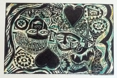 """""""For Your Marriage to Work First You Must Divorce Yourself,"""" 12"""" x 18"""", linocut print, 2012 / Edition 2012"""