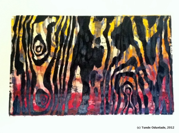 """Mother Nature,"" 19"" x 30"", woodcut print 1992 / Edition 2012"