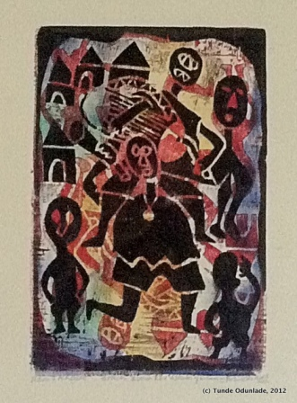"'Music and Acrobats, ""15"" x 10"", woodcut print 1974, Edition 2012"
