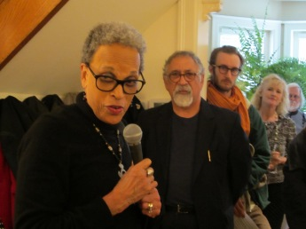 Dr. Johnnetta B. Cole makes remarks, flanked by Franko Khoury.