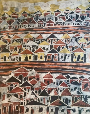 """My Village"" - Tunde Odunlade, 2017, batik on paper, 22.5"" w x 30"" h"