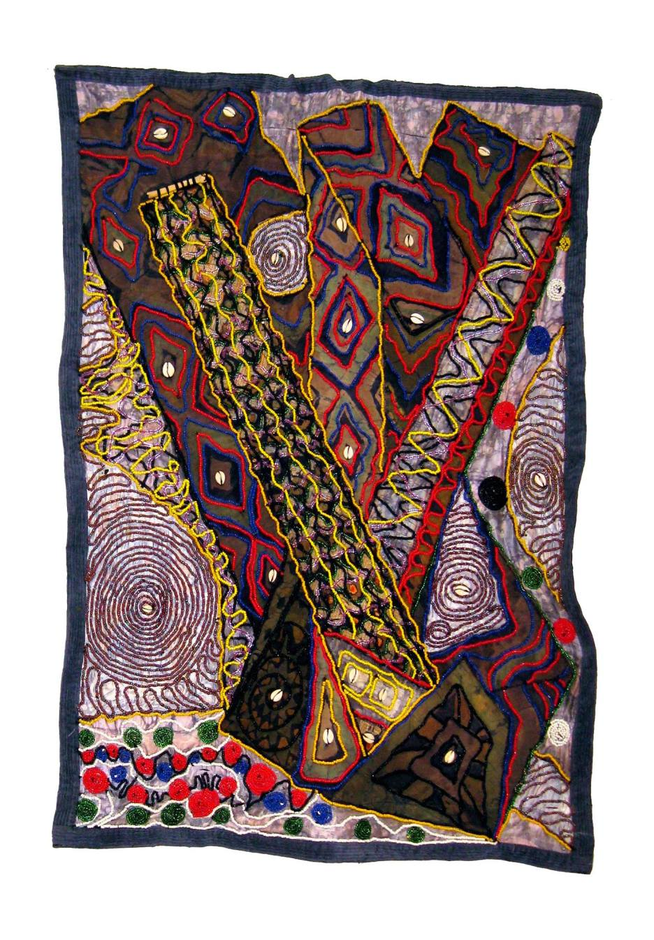 Bone of Contention? Beaded Batik Quilt Tapestry - Tunde Odunlade, Nigeria 2017