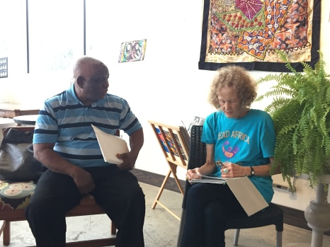 Nigerian Artist George Ajewole with Janet Stanley, Librarian, Smithsonian National Museum of African Art