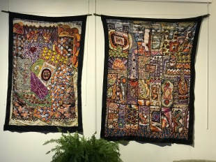 Tunde Odunlade Batik Quilt Tapestry works on display at Culture Coffee Too, Fort Totten, N.E. Washington, D.C.